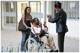 Disabled students 'talking' outside of the Addis Ababa University's Disability and Career Development Center.