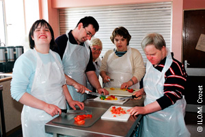 Group of young student chefs.